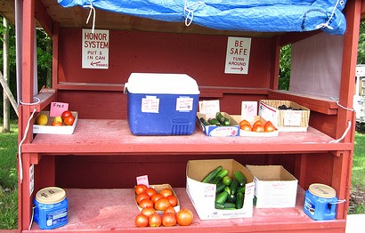 honor system vegetable stand, photo by Allan Gathman