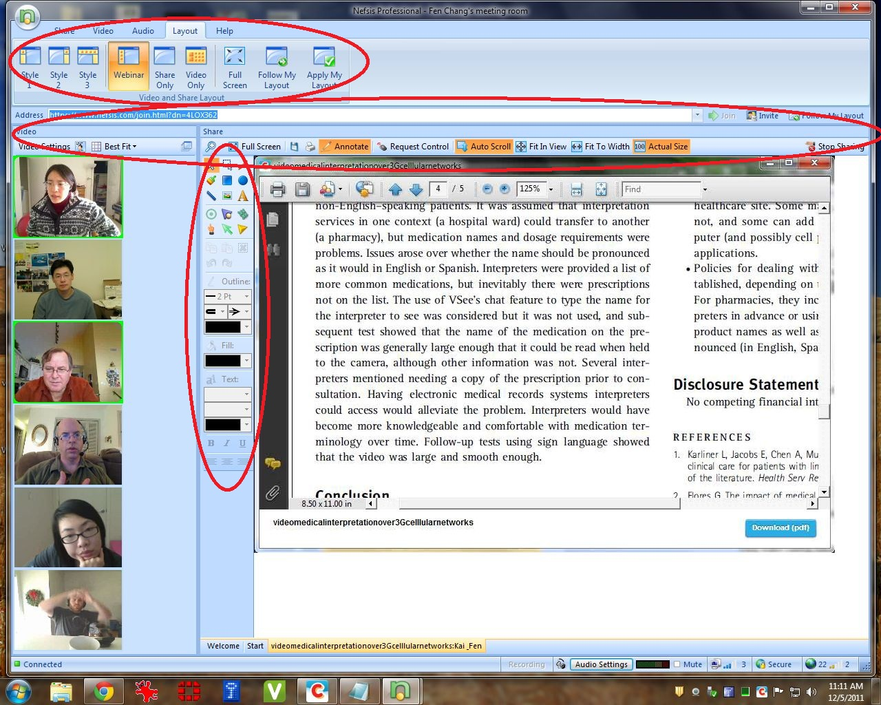 Nefsis video conference screenshot