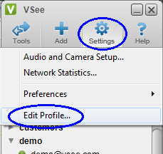 VSee Edit profile
