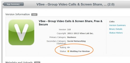 VSee iPad 2.0 app submission