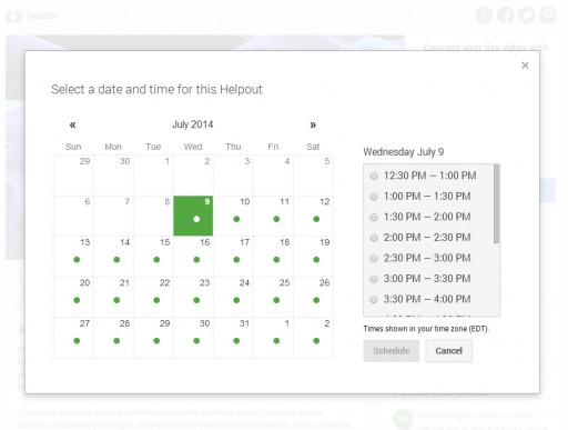Google Helpouts scheduling
